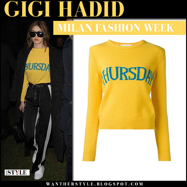 Gigi Hadid in yellow knit Thursday sweater alberta ferretti Milan Fashion Week what she wore 2017