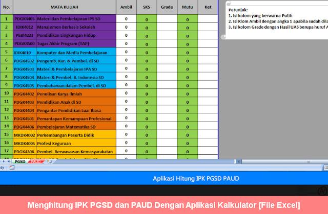 Menghitung IPK PGSD dan PAUD Dengan Aplikasi Kalkulator [File Excel]
