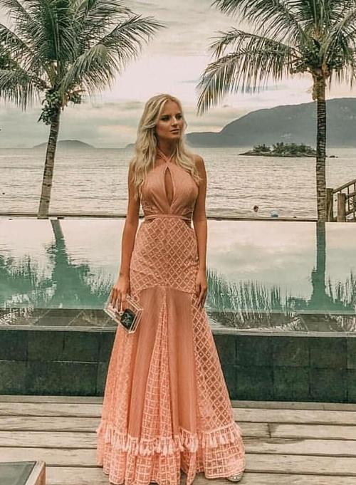vestido pêssego longo
