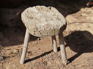 An old cricket stool, well worn.
