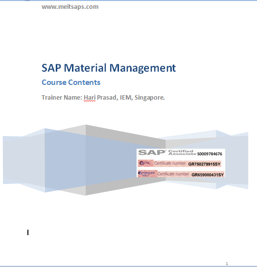 sap mm course learning sequence