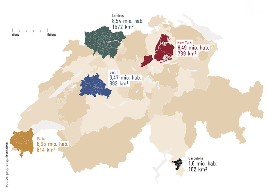 "A map of Switzerland showing how some global cities occupy a smaller surface area than some Swiss ""metropolitan areas""."