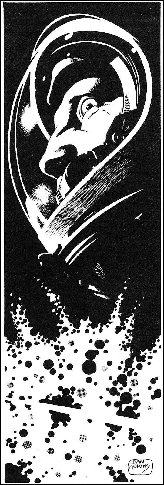 a Dan Adkins illustration of a astronaut in trouble