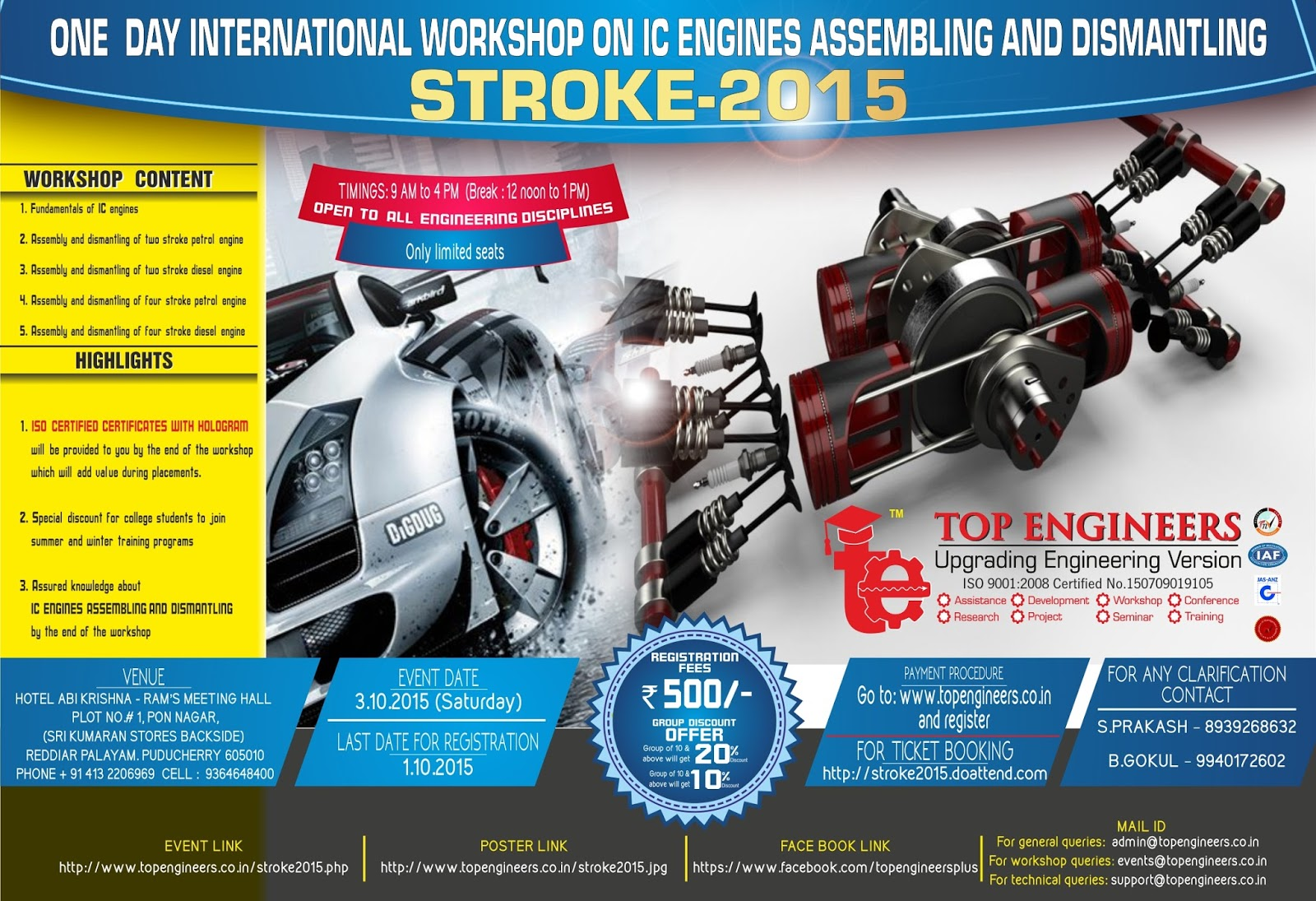 One Day International Workshop on IC Engines Assembling and Dismantling (Stroke 2015)