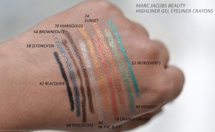 Marc Jacobs Beauty Highliner Gel Eyeliner Crayons Swatches 42Blacquer 58Stonefox 48RoCocoa 54Brownout 80In the Buff 70Marigold 78Orange Crush 74Sunset 90Peridot 52Introvert
