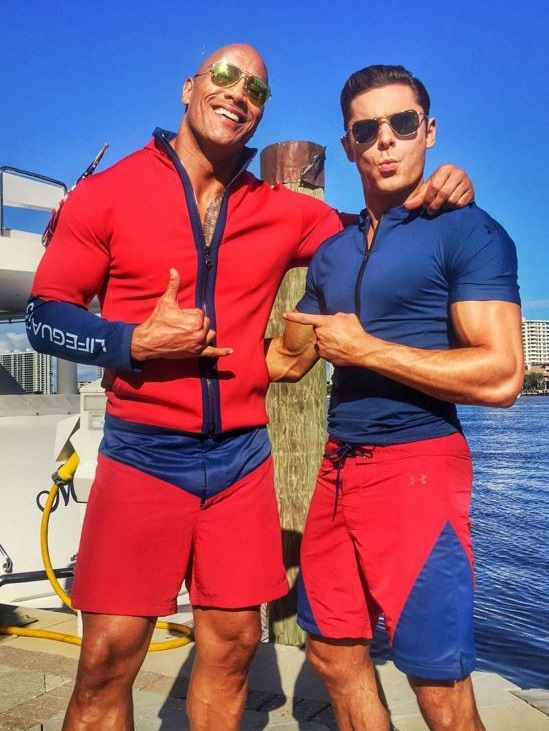 Vjbrendancom First Pics Of Zac Efron And The Rock On The Baywatch