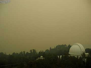 Mt Wilson Tower Camera shows smoky sky with nearby fire