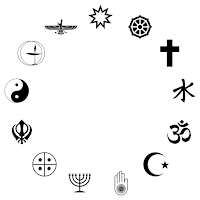 A selection of faith symbols arranged in a circle.