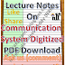 Lecture Notes on Communication System Digitized PDF Material Download