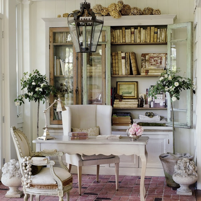 Romantic Nordic French Office with Desk and Armoire in California beach cottage in Santa Monica by Giannetti Home