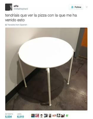 Tendríais que ver la pizza con la que me ha venido esto