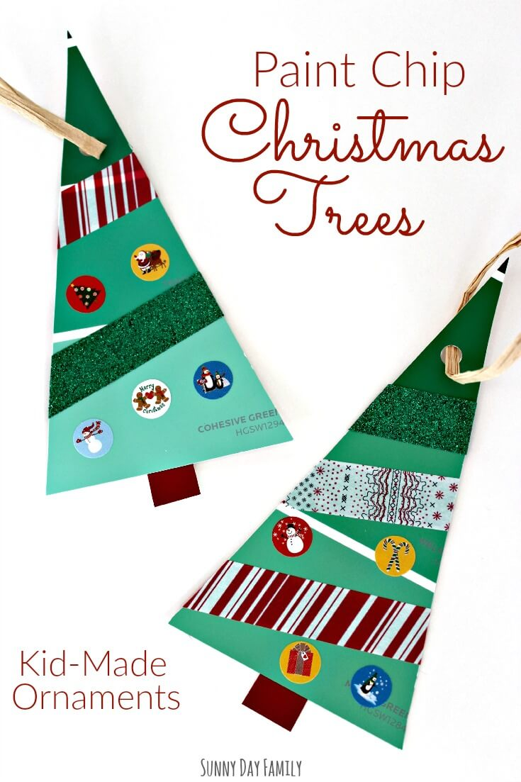 Paint Chip Christmas Trees! A perfect Christmas craft for toddlers & preschoolers - this easy Christmas craft makes a great homemade Christmas ornament or kid made gift!