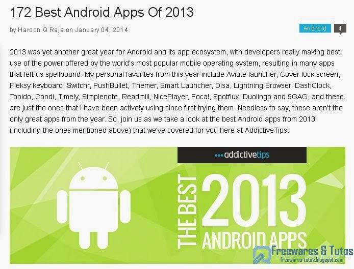 les 172 meilleures applications android de 2013 freewares tutos. Black Bedroom Furniture Sets. Home Design Ideas