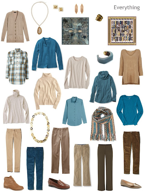 a 16-piece wardrobe in teal and shades of brown, along with shoes, scarves and jewelry