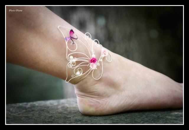 bijou de cheville wire wrapping papillon et perles