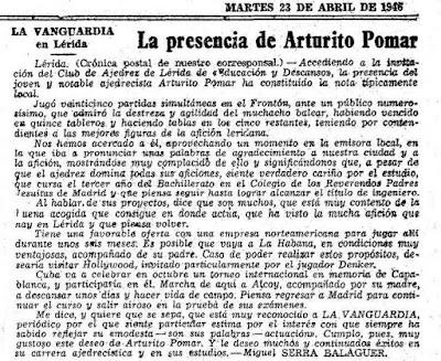 Simultáneas de Arturito Pomar en Lérida el 17 de abril de 1946, nota en La Vanguardia