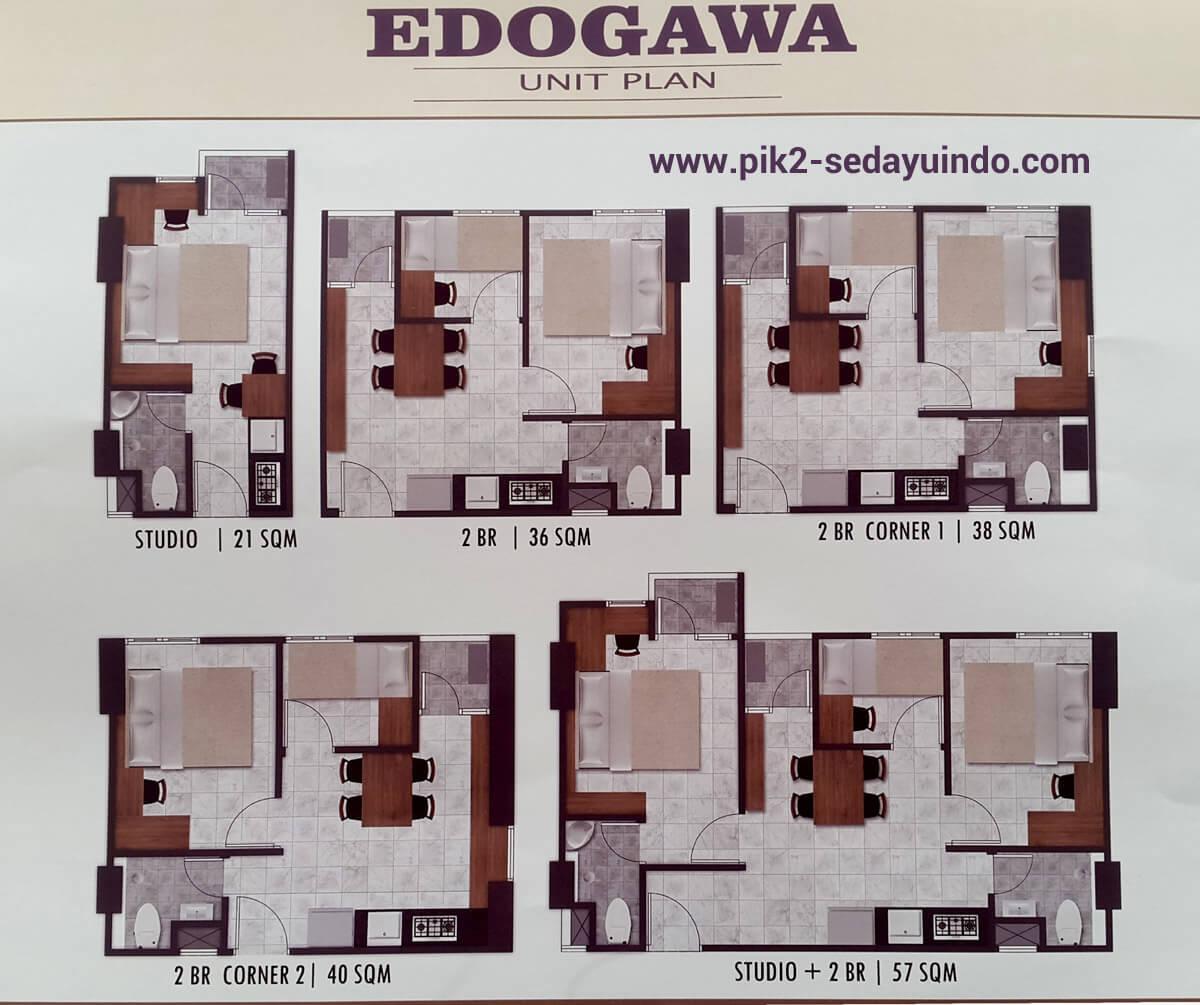 Tipe Unit Apartemen PIK 2 Edogawa Tower