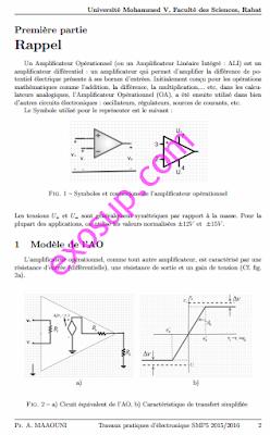 contrôles de TP + des TP corrigés électronique analogique smp s5 FS Rabat