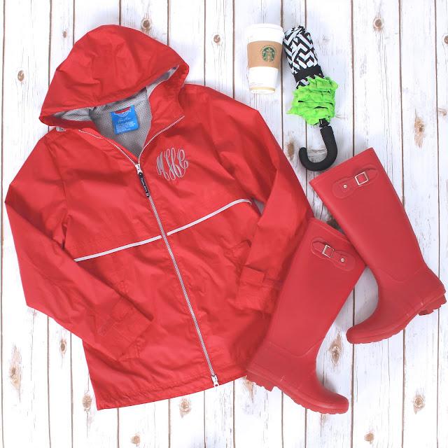 new england rain jacket with rain boots