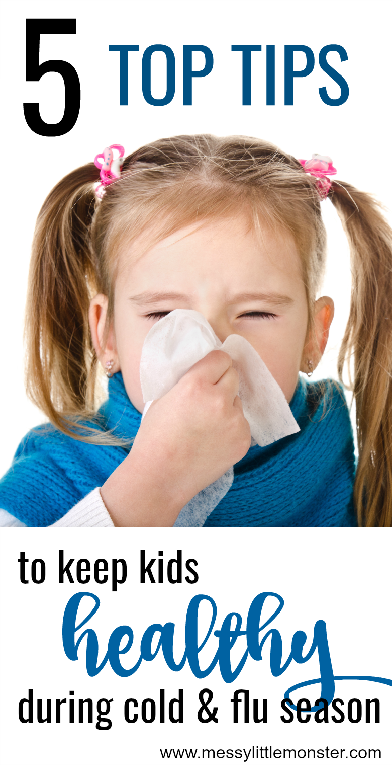 Follow our 5 top tips to keep kids healthy during cold and flu season. Avoid cold and flu. Kids health.