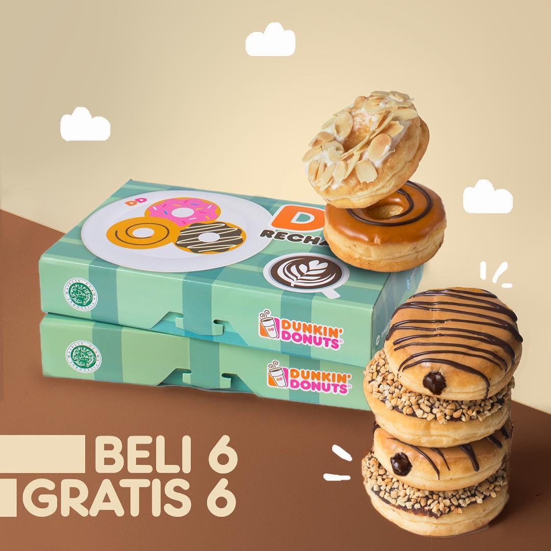 DunkinDonuts - Promo Beli 6 Gratis 6 Pakai Kupon Line (s.d 11 Nov 2018)