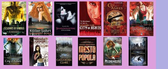 Portadas de la novela de fantasía juvenil Ciudad de ceniza, de Cassandra Clare