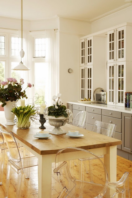 modern and classic kitchen and dining room