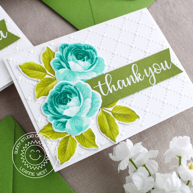 Sunny Studio Stamps: Everything's Rosy Everyday Greetings Floral Thank You Cards by Leanne West