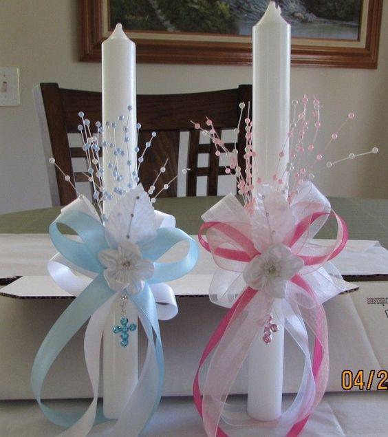 9 ideas de c mo decorar velas para bautizos y primera - Velas decoradas para bautizo ...
