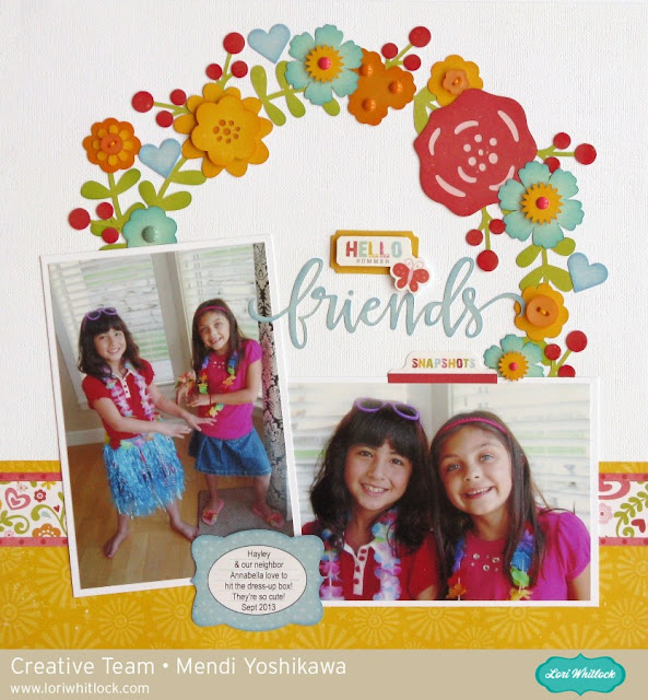 Echo Park Happy Summer Floral Wreath Layout using Lori Whitlock cutting files by Mendi Yoshikawa