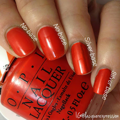 swatch of chromatic orange nail polish from the opi color paint collection