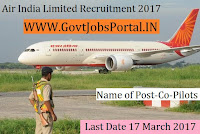 Air India Limited Recruitment 2017 –Co-pilots