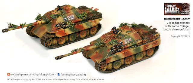 2 x Jagdpanthers with some foliage,  battle damage/dust