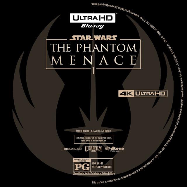 Star Wars: Episode I - The Phantom Menace 4K Bluray Label