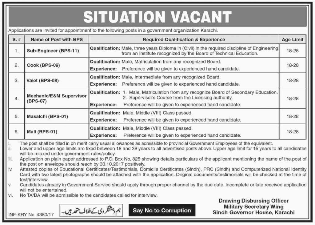 Job In Government Organization Karachi Sindh 15 Oct 2017