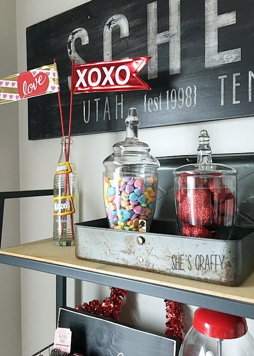 candy jars, valentine's day, flags, hearts, wooden sign, candy