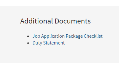 Image of the required additional documents for a CalCareers job posting