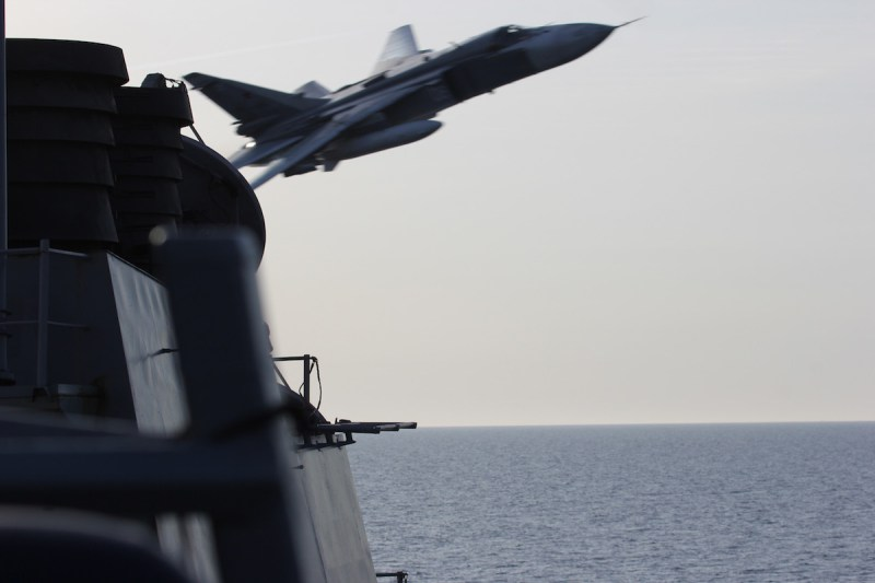 WATCH: Russian Fighter Jets Came Extremely Close to a U.S. Navy Destroyer