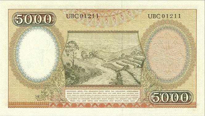 5 ribu rupiah 1959 belakang