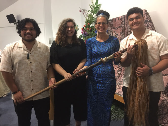 LJ Crichton, Catherine Winitana and Jordan Fuima'ono of Project Prima Volta with Selina Tusitala Marsh and Selina's tokotoko 'Tusitala' at Poets' Night Out.
