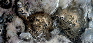 moonlight in twin mountains in the desert, abstract landscapes from the air from the deserts of Africa, Surreal,