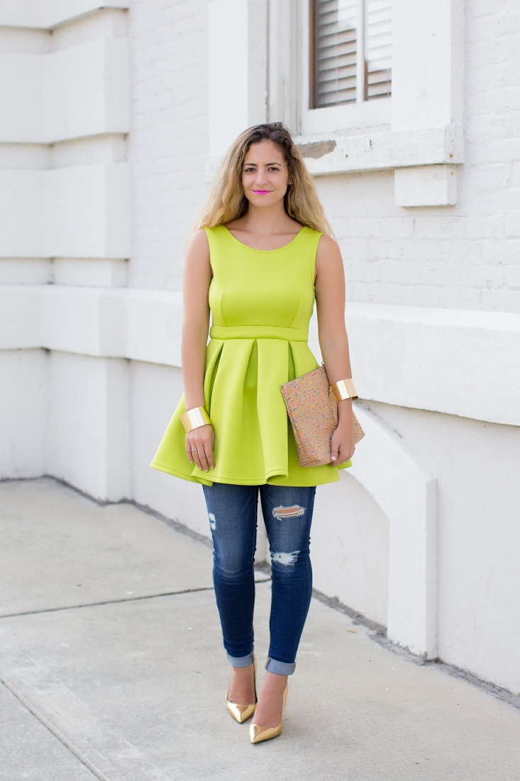 neon green skater dress with skinny jeans