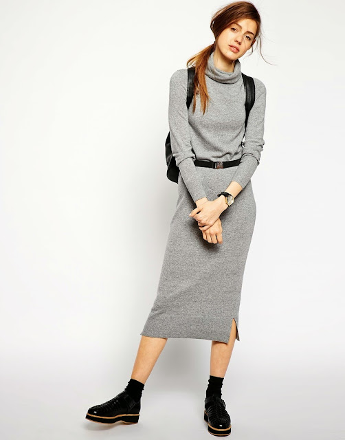 grey dress with belt