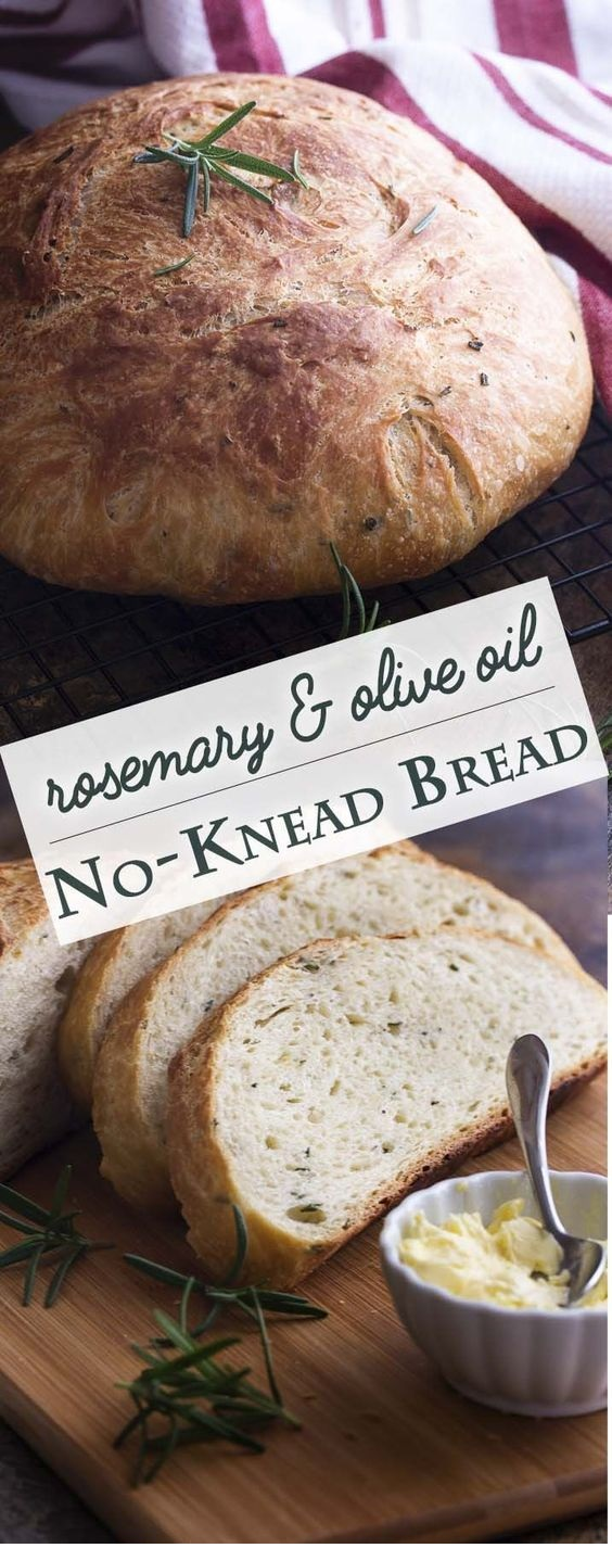 Olive Oil and Rosemary No Knead Bread