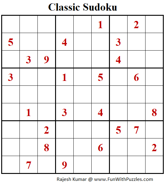 Classic Sudoku Puzzle (Fun With Sudoku #272)