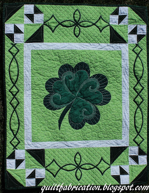 St Patricks Day wall hanging with bias tape