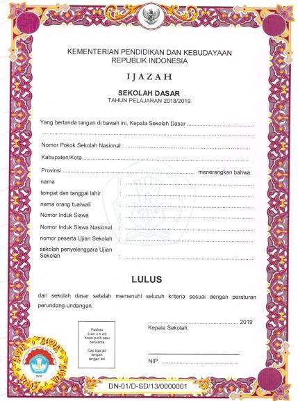 Blangko Ijazah SD Tahun Pelajaran 2018/2019, http://www.librarypendidikan.com/