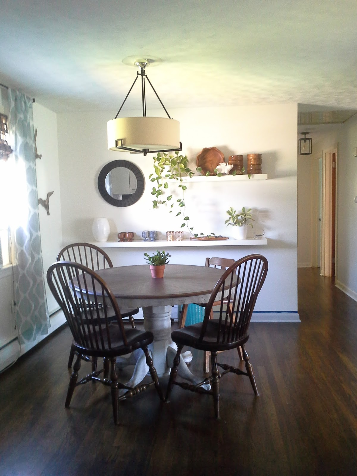 Eclectic Modern Farmhouse Dining Room Floating Shelves