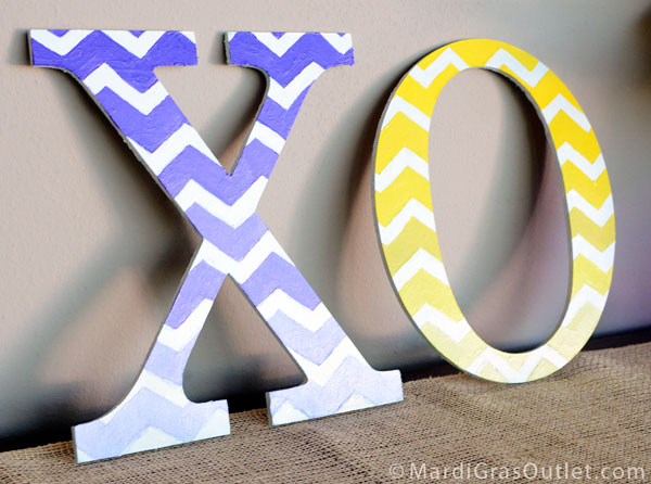 Custom Painted Decorative Letters With Ombre Chevron Pattern Using Free Stencil From MardiGrasOutlet