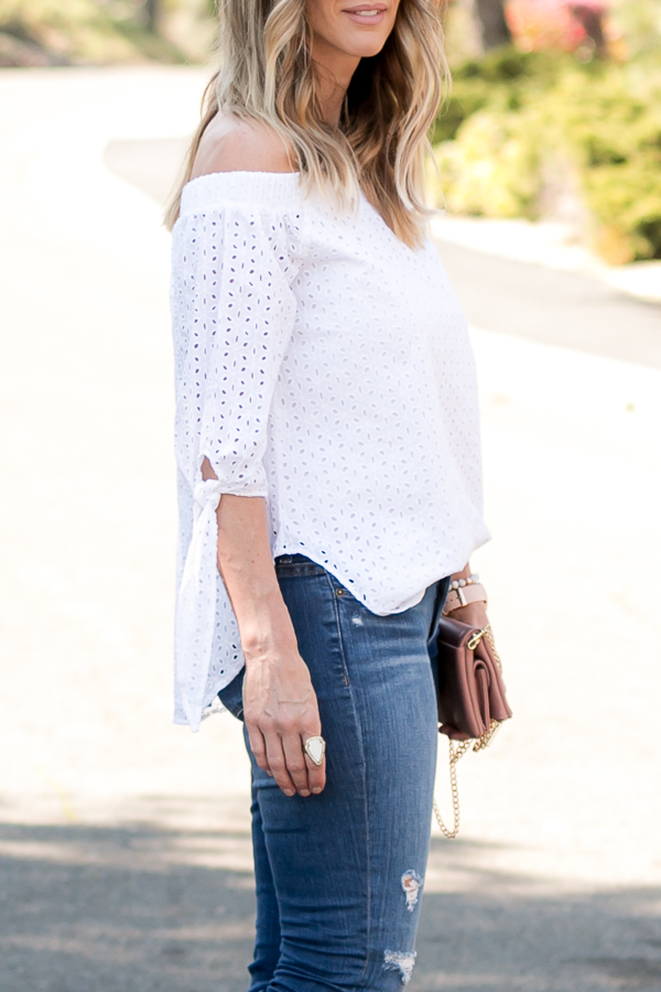 white off shoulder eyelet top parlor girl
